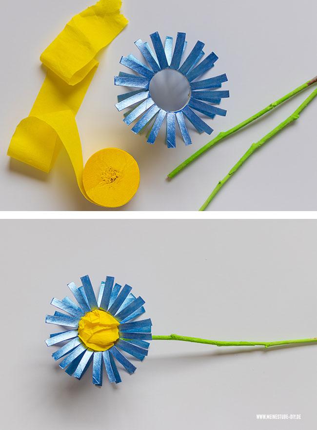 Frühlingsblume aus Klorolle, meinestube-diy